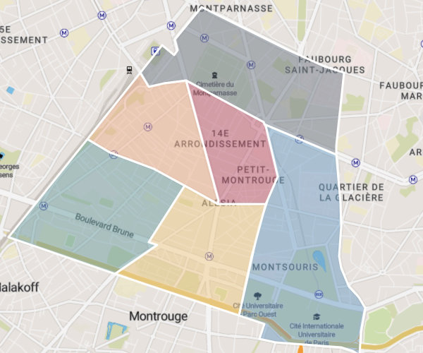 Plan des six quartiers du 14e arrondissemnt de Paris